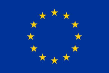 Flag European Union in blue with yellow starts